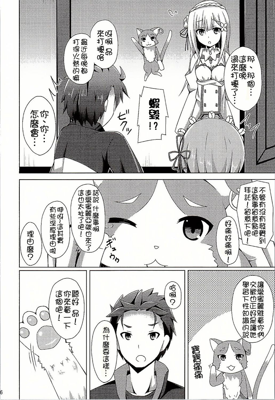 (C90) [Imitation Moon (Narumi Yuu)] Oshiete Rem Sensei - Emilia-tan to Manabu Hajimete no SEX (Re:Zero kara Hajimeru Isekai Seikatsu) [Chinese] [oo君個人漢化] 5