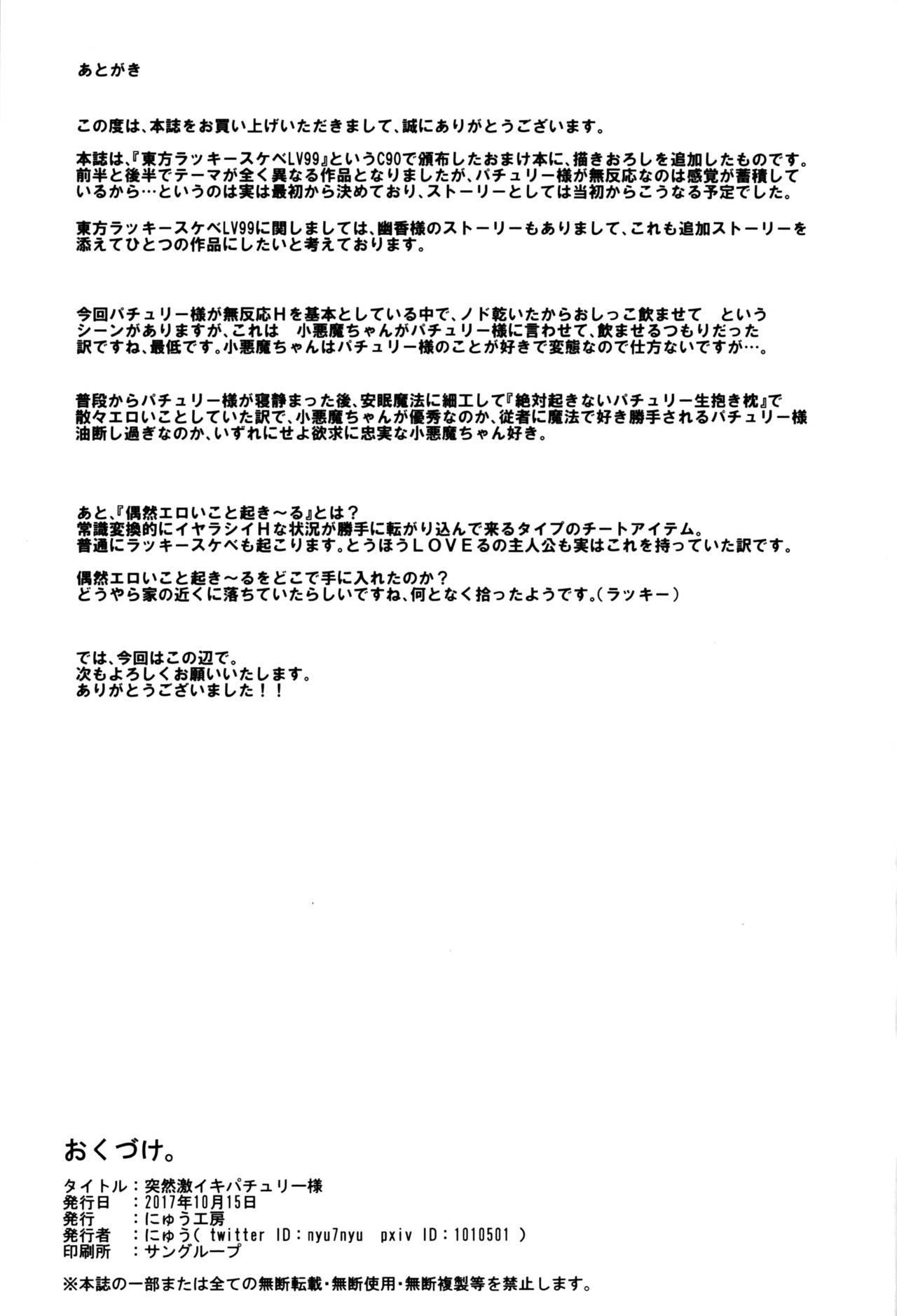 (Shuuki Reitaisai 4) [Nyuu Koubou (Nyuu)] Totsuzen Gekiiki Patchouli-sama | Suddenly Patchouli-sama Violently Came (Touhou Project) [English] [Doujins.com] 19